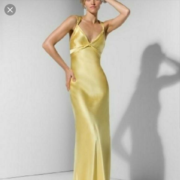 BCBGMaxAzria Dresses | Yellow Satin Gown | Poshmark